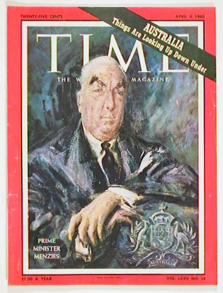 Time The Weekly Newsmagazine. 1960 - 04 -04. MENZIES - AUSTRALIAN PRIME MINISTER.
