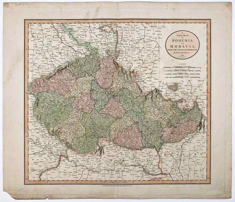 A New Map of Bohemia and Moravia, From the Latest Authorities. CZECHOSLOVAKIA.