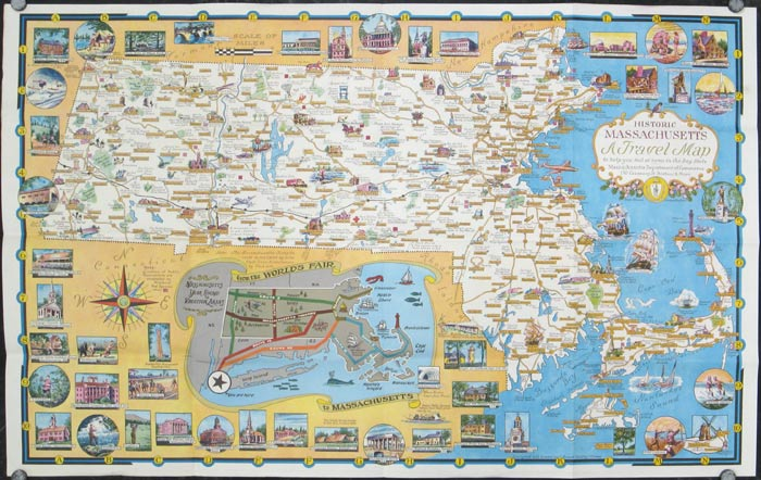 A World of Fun and Relaxation - Massachusetts The Historic Vacationland. A Travel Map to help you feel at home in the Bay State! MASSACHUSETTS / NEW YORK WORLD'S FAIR.