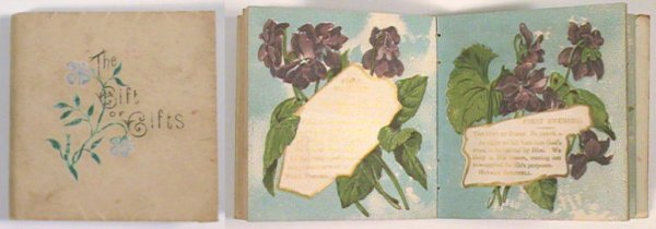 The Gift of Gifts. Loving Kindness in the Morning, Faithfulness Every Night. A Text-Book. CHROMOLITHOGRAPHS - VIOLETS - MINIATURE BOOK, Rose Porter, compiled and.