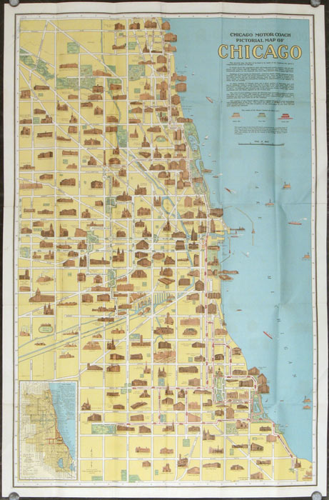 Pictorial Map and Guide to Chicago. Map titles: Chicago Motor Coach ...
