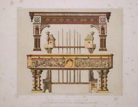 Billiard Tables. 1. With Cue-rack, by Messrs. Thurston & Co. London, 2 by Messrs. Burroughes & Watts London. BILLIARDS.