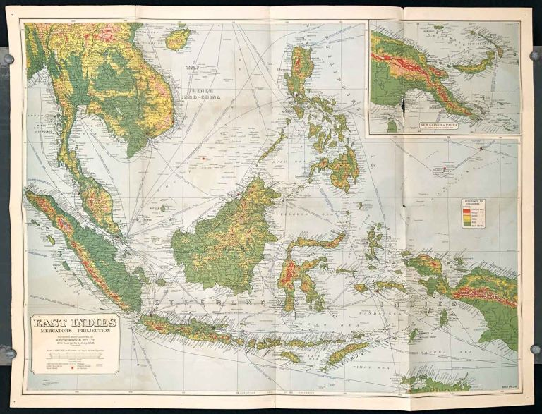 East Indies. Map in Detail. SOUTH EAST ASIA - BORNEO / INDONESIA / PHILIPPINES.
