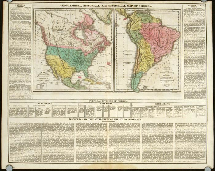 Geographical, Historical, and Statistical Map of America. North America / South America. Lavoisne.