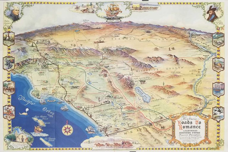 Roads to Romance. Historic Map Guide. California's Southern Empire. (Map title: Historic Roads to Romance California's Southern Empire Tourist Paradise.). CALIFORNIA, Karl F. Brown, research.