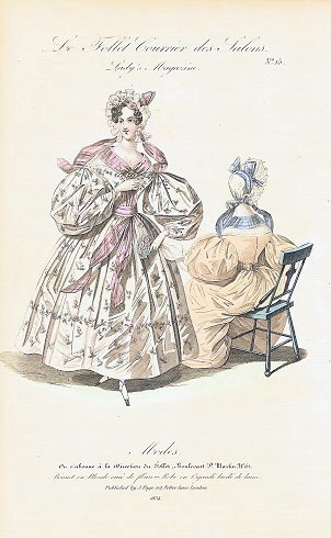 Hand colored fashion engraving from Le Follet Courrier des Salons. Lady's Magazine. No. 15. Modes. 1830s FASHION.