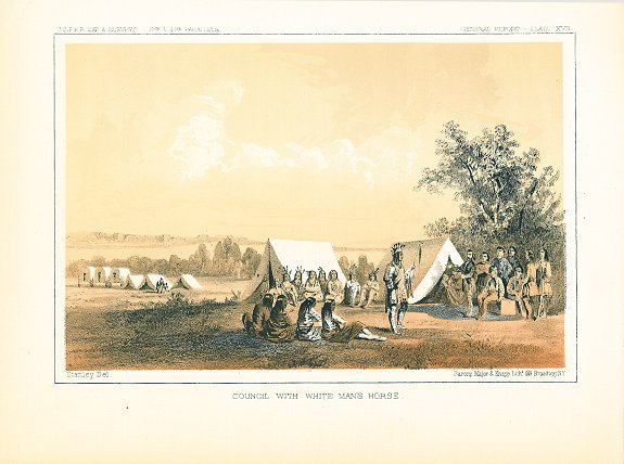 Council with White Man's Horse. [Vintage Pacific Railroad Survey Lithograph]. MONTANA ? - NATIVE AMERICAN INDIAN.
