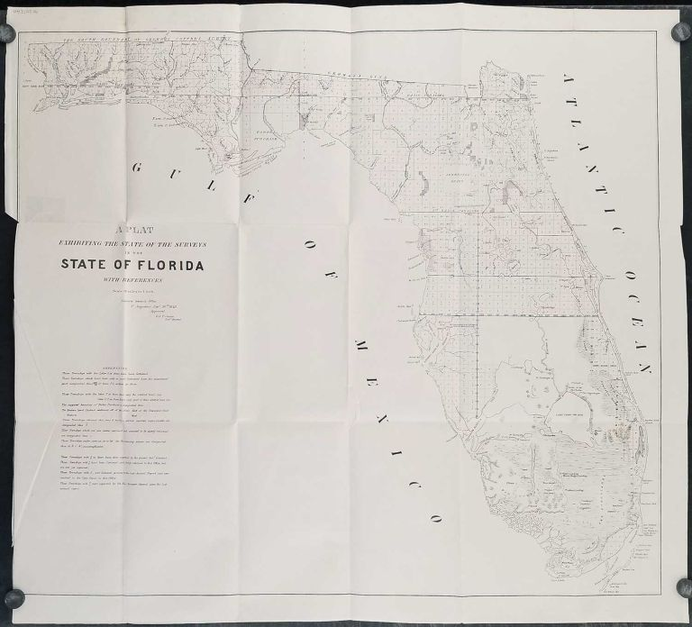 A Plat Exhibiting the State of the Surveys of the State of Florida. 1849. FLORIDA SURVEY - Lake O-Kee-Cho-Bee.