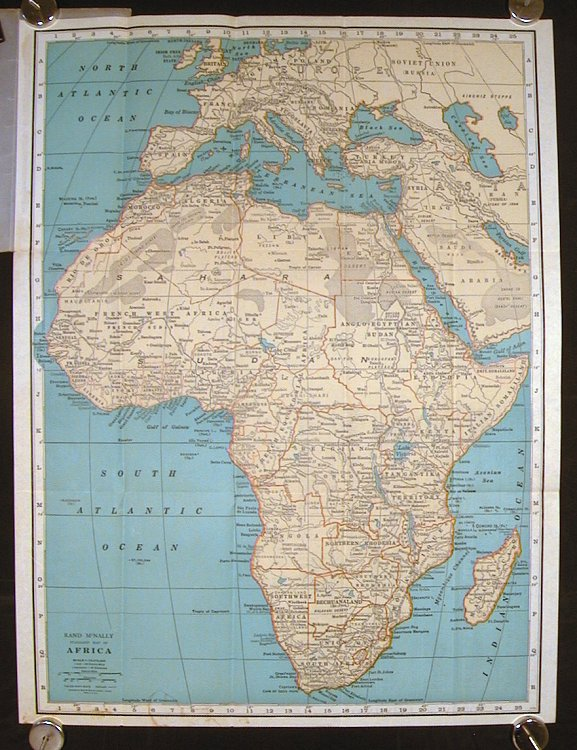 Africa Pocket Map. Showing Political Divisions, Cities and Towns, etc. (Map title: Rand McNally Standard Map of Africa).
