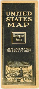 United States Map. Burlington Route. Links East and West and Does it Best. Map title: Map of the Burlington Route. The National Park Line and Connections. UNITED STATES.