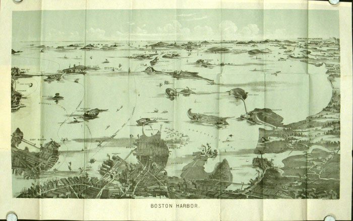 Bird's Eye View of Boston Harbor. (Map title: Boston Harbor.). MASSACHUSETTS - BOSTON.