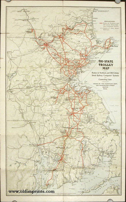 Old Colony Street Railway Co. Trips by Trolley. (Map title: Tri-State Trolley Map Showing Boston & Northern and Old Colony Street Railway Companies' Systems and Connecting Lines.). OLD COLONY STREET RAILWAY.