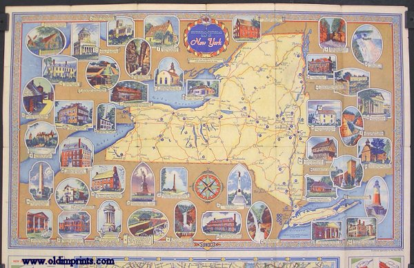 Sunoco Road Map and Historical Scenic Guide. New York. (Map title: Historical - Pictorial Map of New York.). NEW YORK.