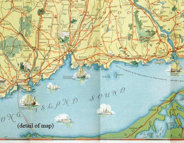 Connecticut Invites you to its Tercentenary and to enjoy its unsurpassed playgrounds amid historic surroundings. (Map title: Tercentenary Map of Connecticut). CONNECTICUT.
