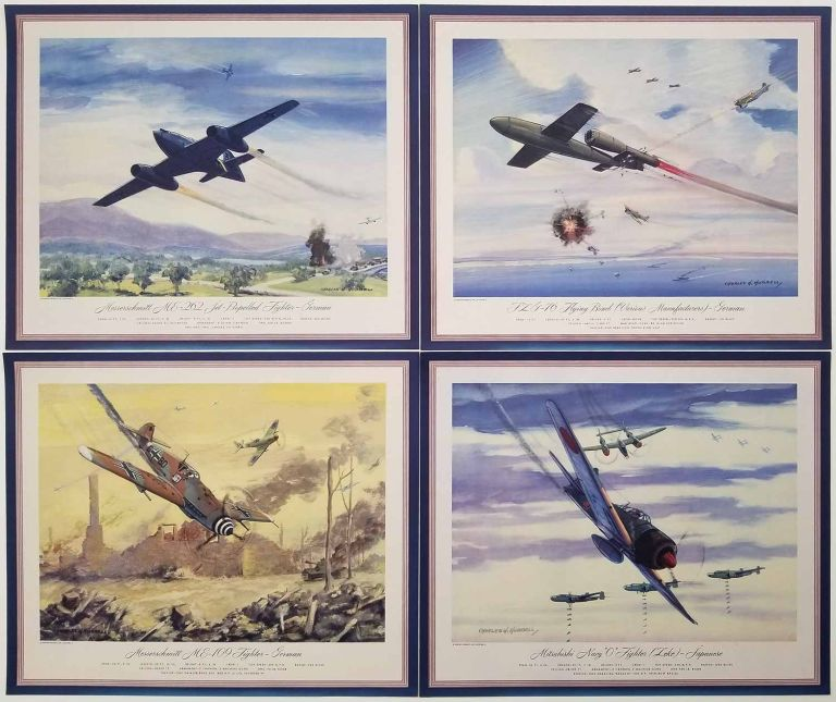 German and Japanese Fighter and Bomber Airplanes. [LOT OF 12 COLOR PRINTS vintage]. AIRPLANES - WORLD WAR II.