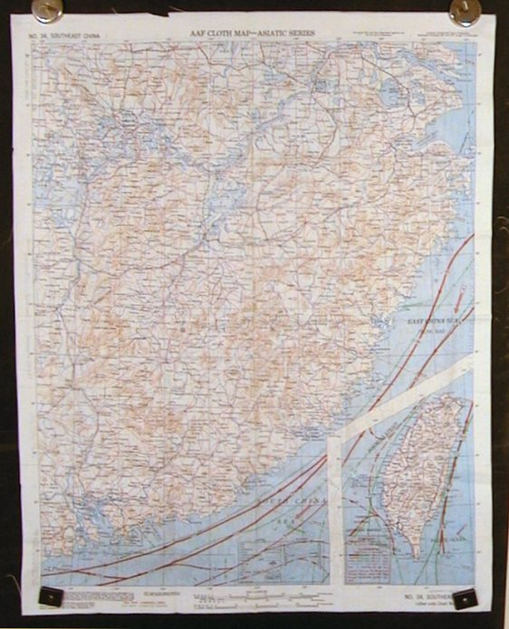 AAF Cloth Map - Asiatic Series. No. 34. Southeast China. No. 35. Northeast China. CHINA / TAIWAN - SURVIVAL MAP/ EVASION MAP/ ESCAPE MAP.
