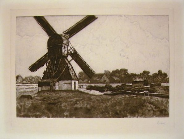 Etching of a windmill in rural landscape. ETCHING - WINDMILL.