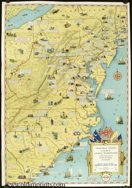 Map of the Principal Events in the life of George Washington contributed to the Bicentennial Celebration of his birth by the Standard Oil Company of Pennsylvania. (Map title:. EAST COAST / GEORGE WASHINGTON.