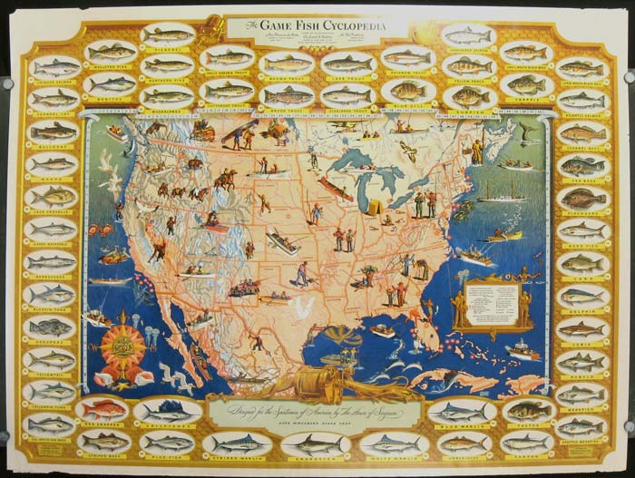 The Game Fish Cyclopedia. Designed for the Sportsmen of America by The House of Seagram Fine Whiskies Since 1851. UNITED STATES - FISH AND FISHING, planned, the collaboration of.