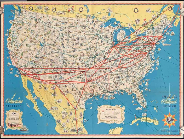 American Airlines System Map. Route of the Flagships. AIRLINES - AMERICAN.