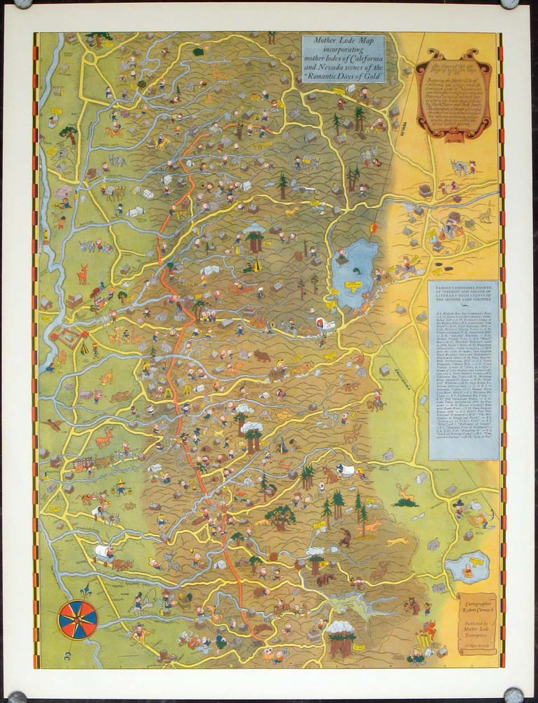Mother Lode Map incorporating mother lodes of California and Nevada on