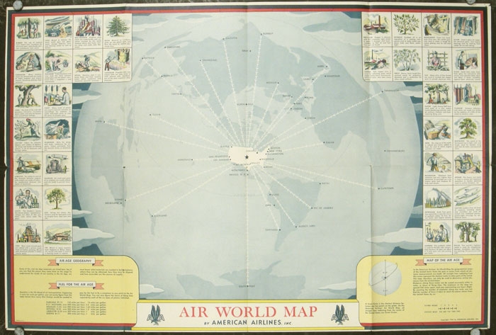 Air Map Of The World.Air World Map By American Airlines Inc World Aviation Map