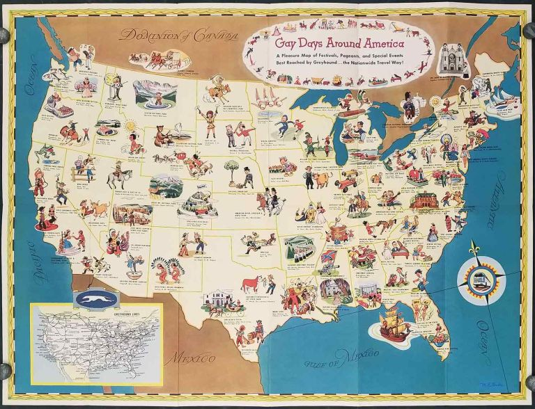Gay Days Around America. A Pleasure Map of Festivals, Pageants, and Special Events Best Reached by Greyhound...the Nationwide Travel Way! Pamphlet title: America Celebrates. UNITED STATES - GREYHOUND.