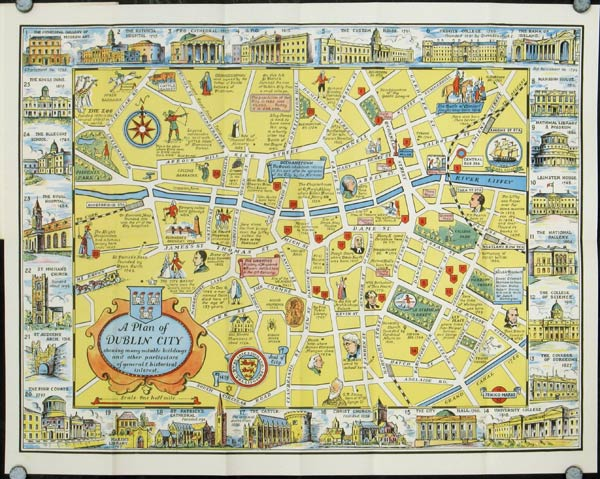 A New Plan of Dublin City. (Map title: A Plan of Dublin City showing many notable buildings and other particulars of general & historical interest). IRELAND - DUBLIN.
