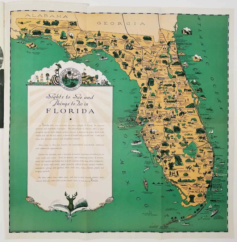 Florida Sports Recreation and Points of Interest. (Pictorial map title: Sights to See and Things to do in Florida). FLORIDA - PICTORIAL MAP.