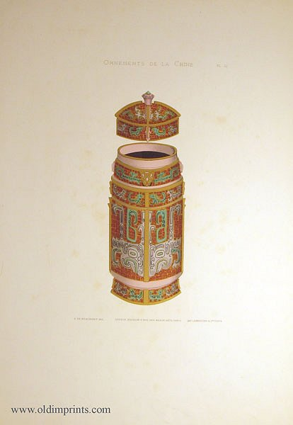 Ornements de la Chine. Plate 12. [Chinese cloisonne covered vase]. CHINA - DECORATIVE ART.