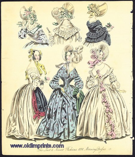 The Last & Newest Fashions. 1838. Morning Dresses. 1830s FASHION.