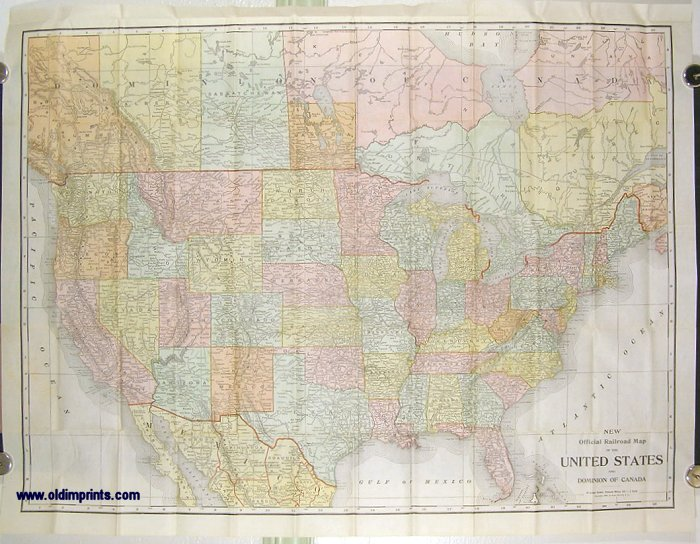 New Official Railroad Map of the United States and Dominion of Canada. (Cover title: Rand McNally & Co.'s New Official Railroad Map of the United States and Dominion of Canada). UNITED STATES / CANADA.