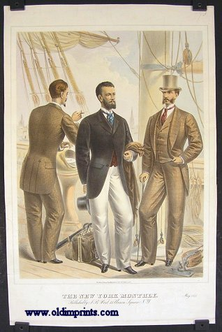The New York Monthly. May 1875. 1870s FASHION - MEN AT SEA.