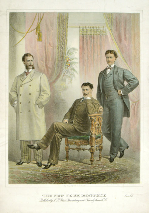VERY LARGE SIZE MEN'S FASHION: The New York Monthly. June 1878. 1870s FASHION.