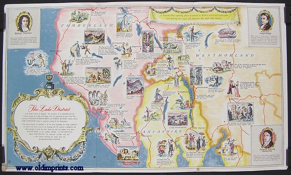 BP Pictorial Map. The Lake District. Poets' Corner of England. ENGLAND - LAKE DISTRICT.