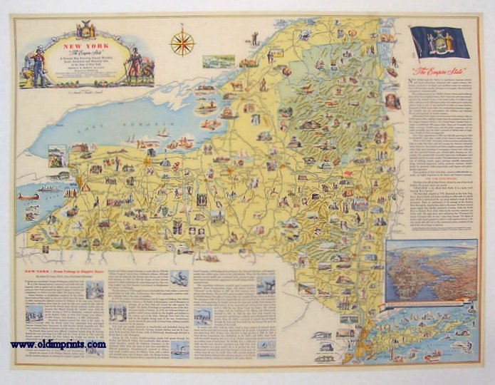 New York. The Empire State . A Pictorial Map Featuring Natural ...