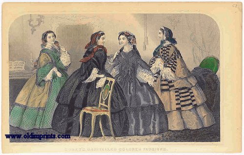Godey's Unrivalled Colored Fashions. 1850s FASHION.