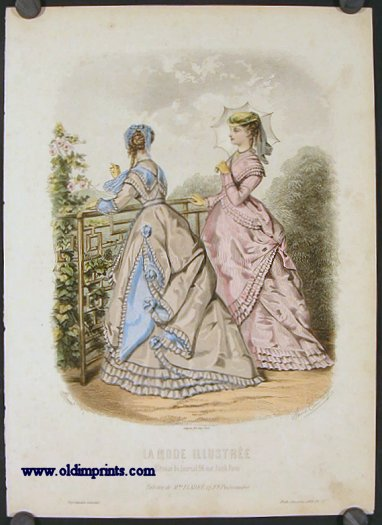 Hand colored engraving from La Mode Illustree. Toilettes de Mme. Fladry, 27 F9. Poissonniere. 1860s FASHION.