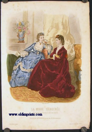 Hand colored engraving from La Mode Illustree. Toilettes de Mme. Fladry, 27 rue du F9 Poissonniere. 1870s FASHION.