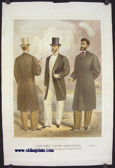 The New York Monthly. July 1877. 1870s MEN'S FASHION.