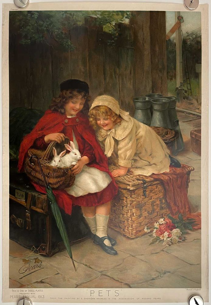 Pets. PEARS SOAP ANNUAL CHROMOLITHOGRAPH.