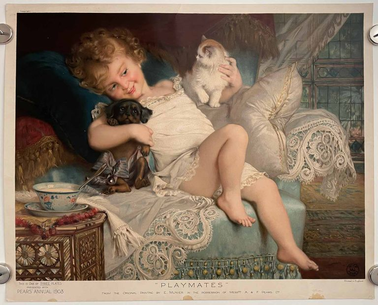 Playmates. CAT PEARS SOAP ANNUAL CHROMOLITHOGRAPH - CHILD, DOG.