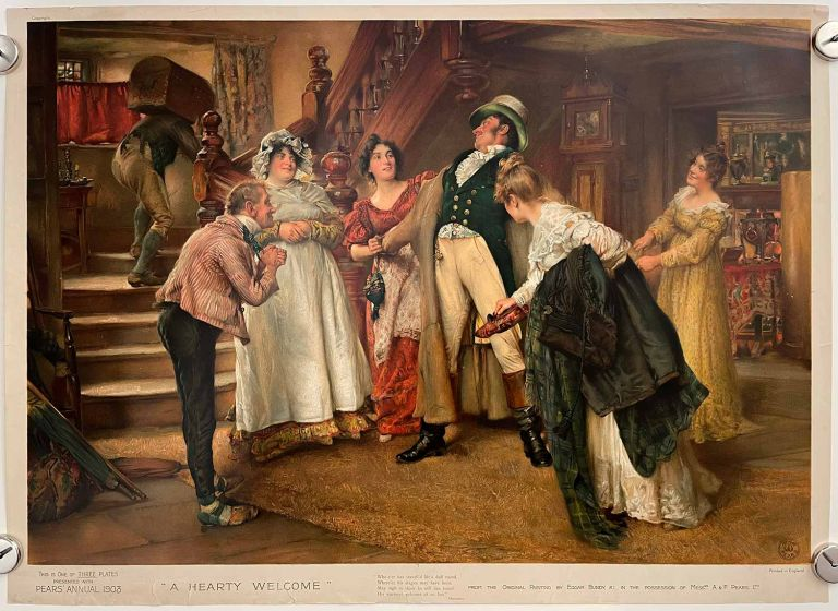 A Hearty Welcome. PEARS SOAP ANNUAL CHROMOLITHOGRAPH.