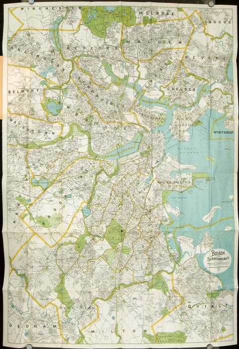 Map of Boston and Surroundings. Map title: Boston and Surroundings. MASSACHUSETTS - BOSTON.