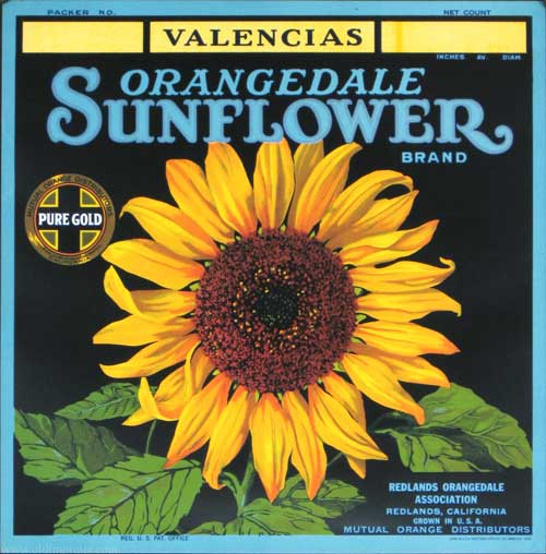Valencias Orangedale Sunflower Brand. SUNFLOWER CRATE LABEL.