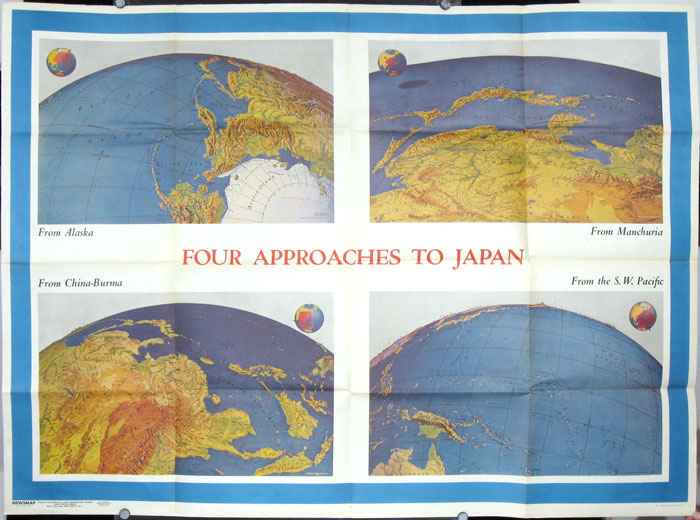 Newsmap for the Armed Forces. 243rd Week of the War - 125th Week of U.S. Participation. Monday, May 8, 1944. (Map title: Four Approaches to Japan). JAPAN.