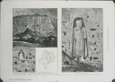 The Rock-Cut Statues of Bamian, Central Asia: The Largest Statue. / The Rock-Cut Statues of Bamian, Central Asia. a. Second Great Statue and Caves. 2. Fourth Statue, with Caves. 3. Painting in Niche of Second Statue. The Second Great Statue. AFGHANISTAN - BAMIAN.