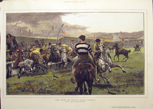 The Game of Polo - A Warm Corner. Sketched at Lillie Bridge Grounds, West Brompton. POLO.