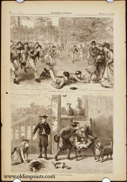 Harper's Weekly. COMPLETE ISSUE. Front cover illustration: Manton Marble. FOOTBALL / BOSTON MASSACHUSETTS.