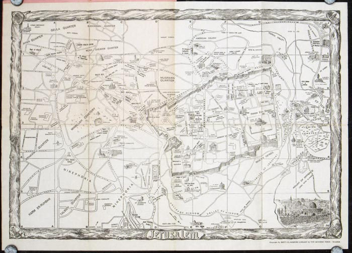 The Pictorial Map of Jerusalem. Map title: Jerusalem. ISRAEL - JERUSALEM.